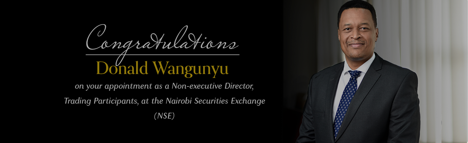FourFront Management CEO Donald Wangunyu appointed Non-Executive Director at the Nairobi Securities Exchange (NSE)